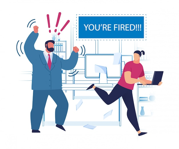 Volantino pubblicitario pensare forte sei licenziato. Vettore gratuito
