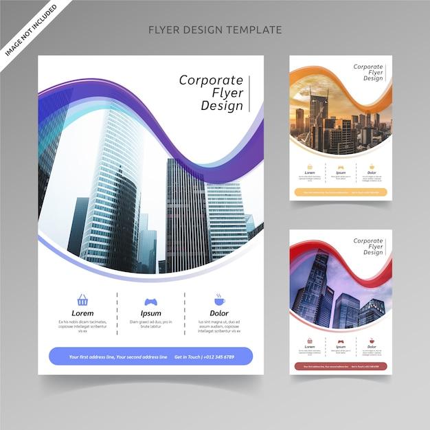 Volantino template design arco misto 3 scelte di colore, livello organizzato Vettore Premium