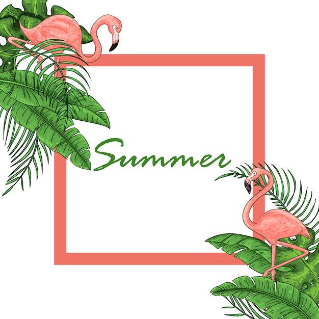 Volantino tropicale hawaiano con uccelli, foglie di palma Vettore Premium