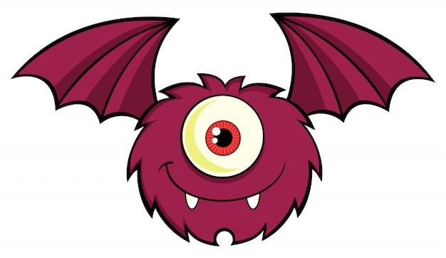 Volato del personaggio dei cartoni animati di one eyed monster carino Vettore Premium