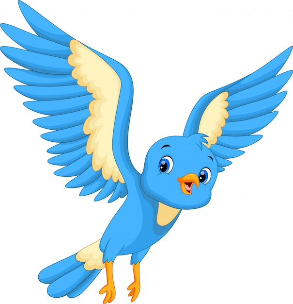 Volo dell'uccello blu carino Vettore Premium