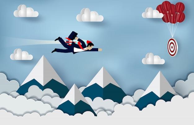 Volo dell'uomo d'affari con i motori a razzo in avanti all'obiettivo per raggiungere successo Vettore Premium
