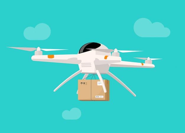 Volo di consegna del fuco nello stile piano dell'illustrazione di vettore della scatola del pacchetto di trasporto del cielo Vettore Premium