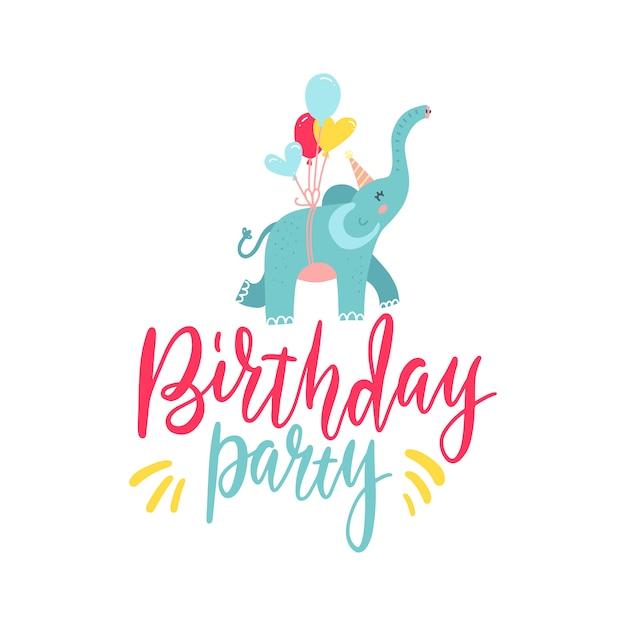 Volo disegnato a mano sveglio dell'elefante sui palloni isolati su fondo bianco. testo di lettere festa di compleanno elemento di design Vettore Premium