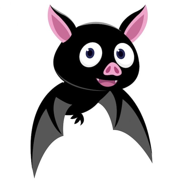 Volo divertente del pipistrello isolato su fondo bianco Vettore Premium