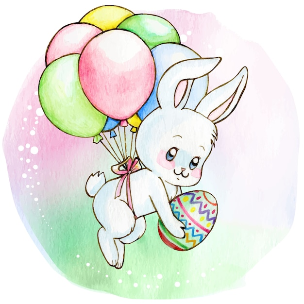Volo sveglio del coniglietto bianco dell'acquerello con i palloni che tengono l'uovo di pasqua Vettore Premium