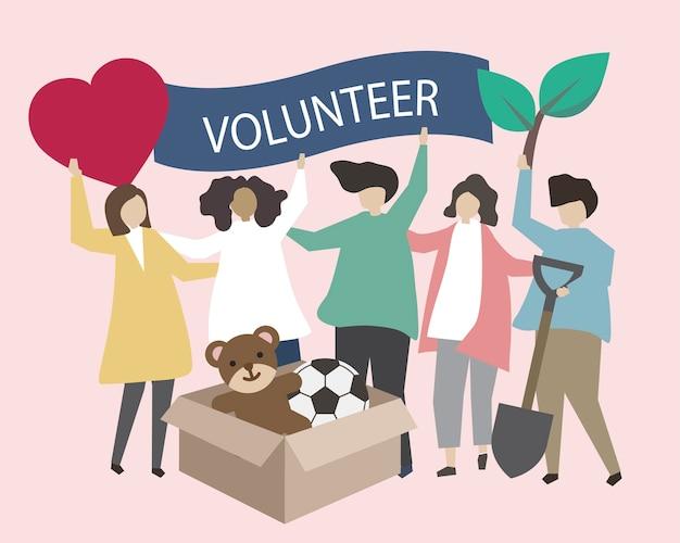 Volontari con l'illustrazione delle icone di carità Vettore gratuito