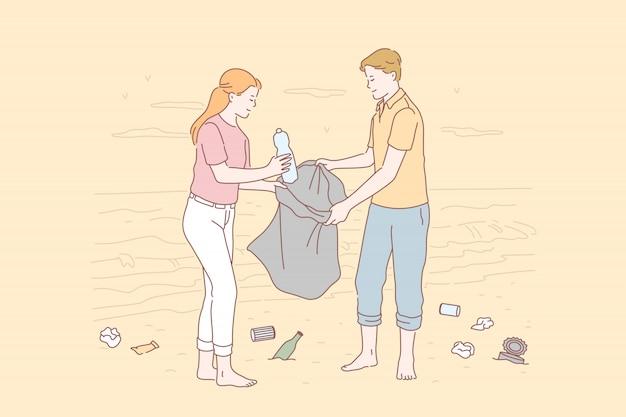 Volontariato, eco, ambiente, concetto di inquinamento. Vettore Premium