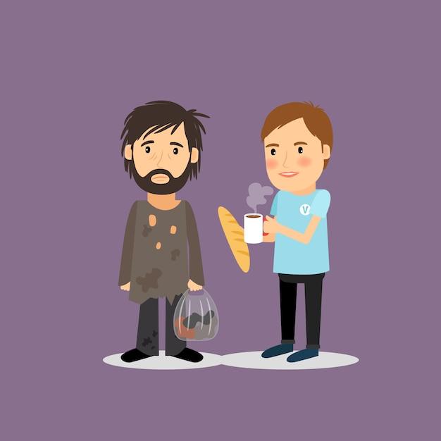 Volontario aiutare i senzatetto Vettore Premium