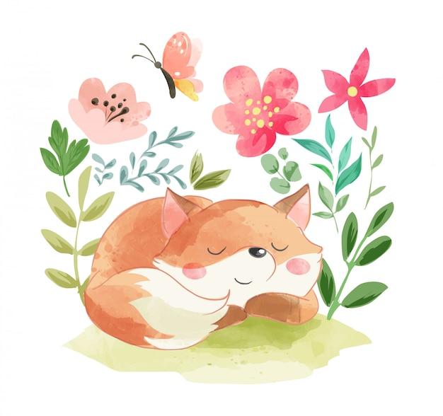 Volpe addormentata sveglia con l'illustrazione del fiore di estate Vettore Premium