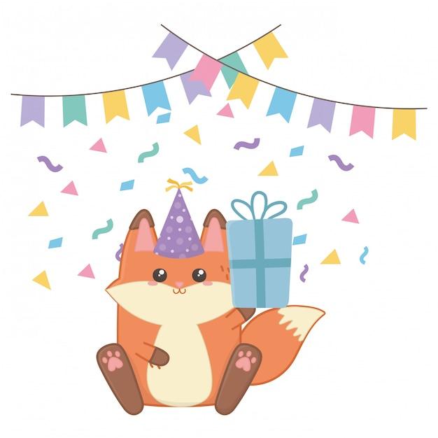 Volpe kawaii e buon compleanno Vettore Premium