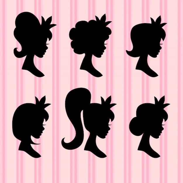 Volti di giovane ragazza con profili corona nera Vettore Premium