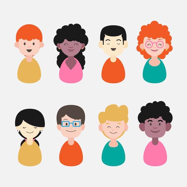 Volti diversi, espressioni felici avatar di persone Vettore gratuito