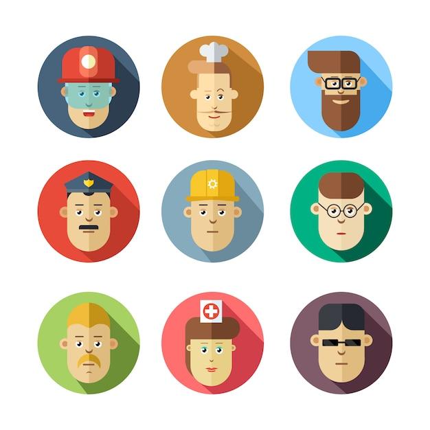 Volti umani colorati. diverse professioni. Vettore Premium