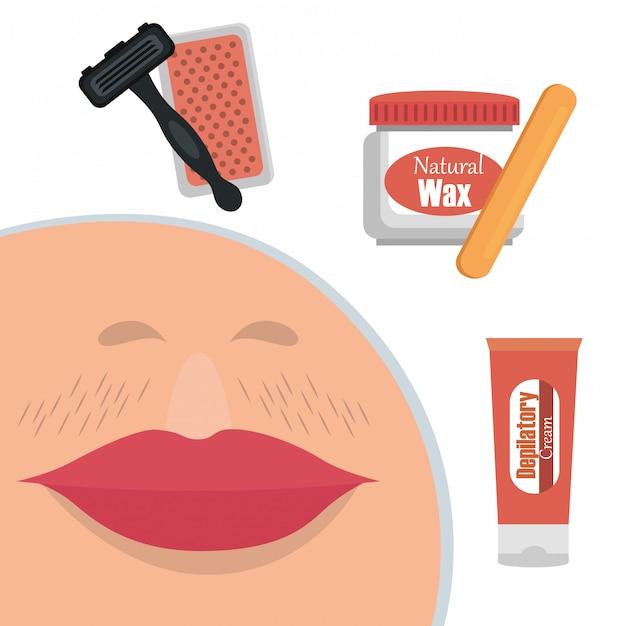 Volto di donna con elementi di depilazione Vettore gratuito