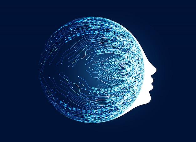 volto digitale con il concetto di rete del circuito Vettore gratuito