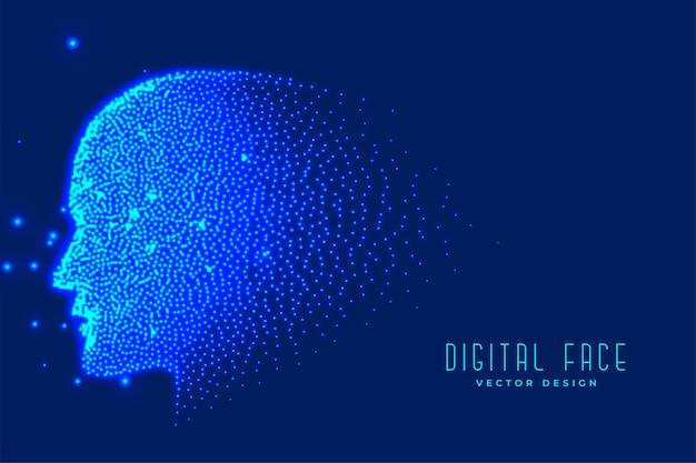 Volto tecnologico digitale realizzato con particelle Vettore gratuito