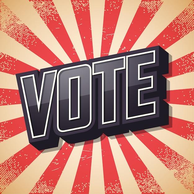 Vota, poster retrò, Vettore Premium