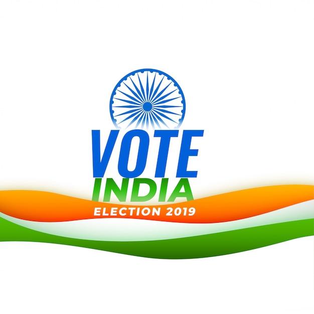 Voto sfondo elezione india con bandiera indiana Vettore gratuito