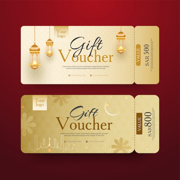 Voucher regalo dorato con lanterne luminose e diverse Vettore Premium
