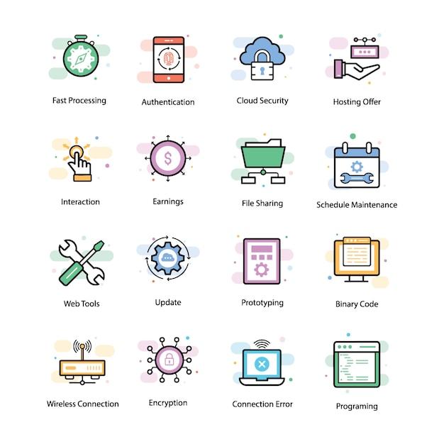 Vpn e icone di rete Vettore Premium