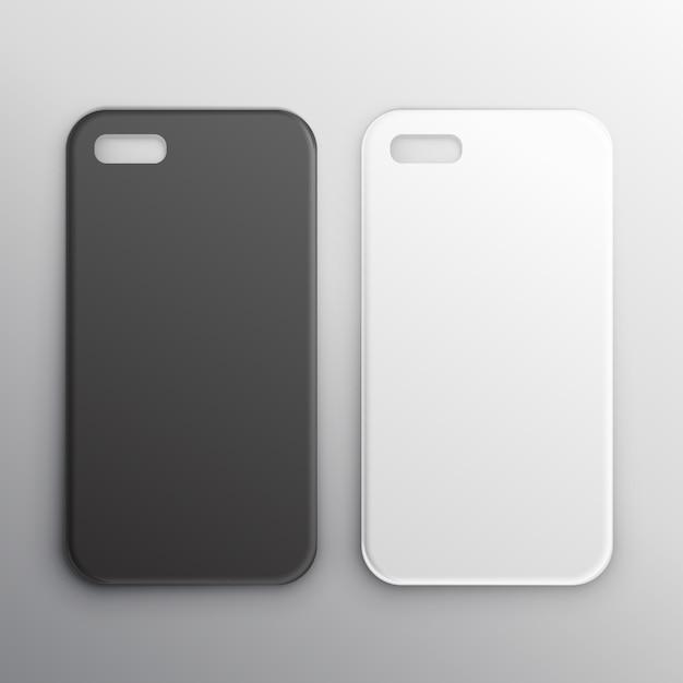 Vuote casi di smartphone in bianco e nero set Vettore gratuito