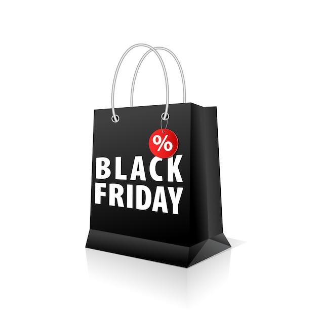 Vuoto sacchetto di carta commerciale, colore nero per il black friday Vettore Premium
