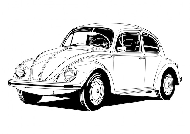 Vw beetle line art Vettore Premium