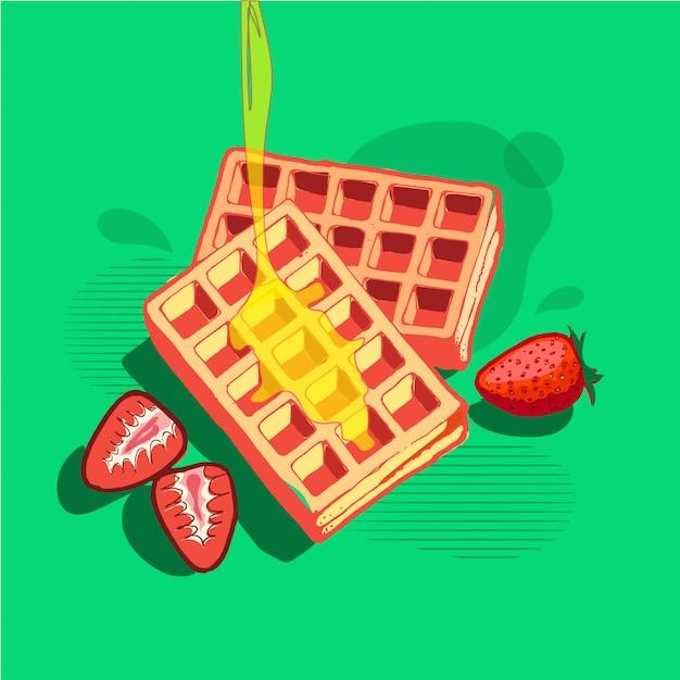 Wafles-colazione Vettore Premium