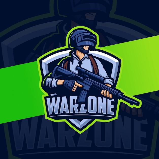 Warzone personaggio mascotte gioco mascotte esport logo Vettore Premium