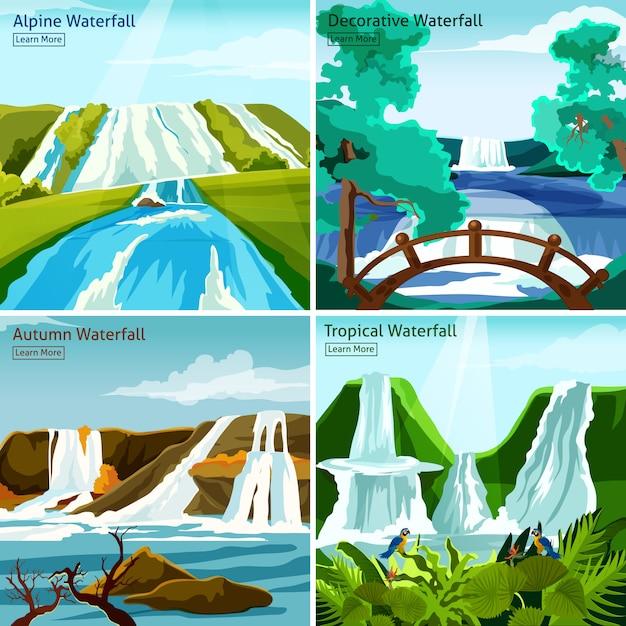 Waterfall landscapes 2x2 design concept Vettore gratuito