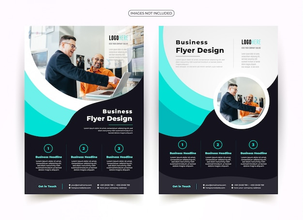 Wave creative flyer design Vettore Premium