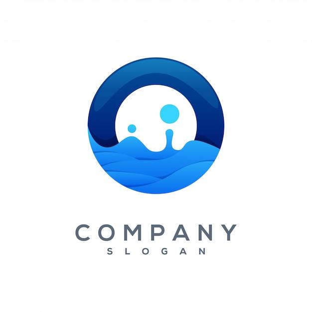 Wave logo vettoriale pronto per l'uso Vettore Premium