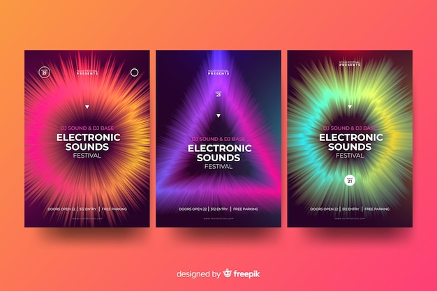 Wave sound poster di musica elettronica Vettore gratuito