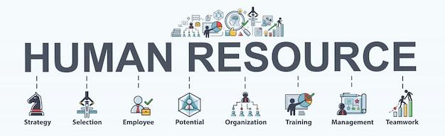 Web della bandiera della risorsa umana per l'affare. strategia, selezione, profilo e risorse umane. Vettore Premium