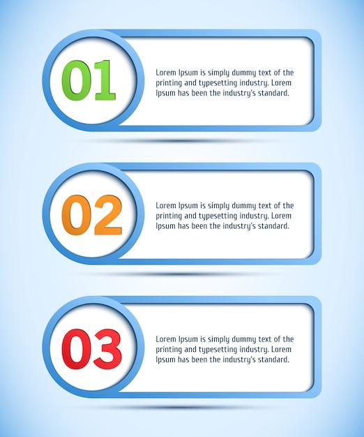 Web design astratto, sfondo progresso / scelta del prodotto o versioni Vettore Premium
