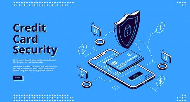 Web design di atterraggio isometrico di sicurezza della carta di credito Vettore gratuito
