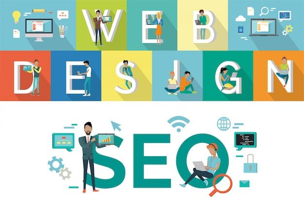 Web design, progettazione di stile piano di seo vector concept. Vettore Premium