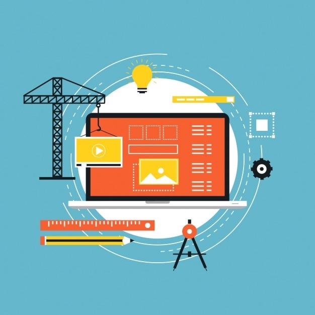 Web in fase di progettazione la costruzione Vettore gratuito