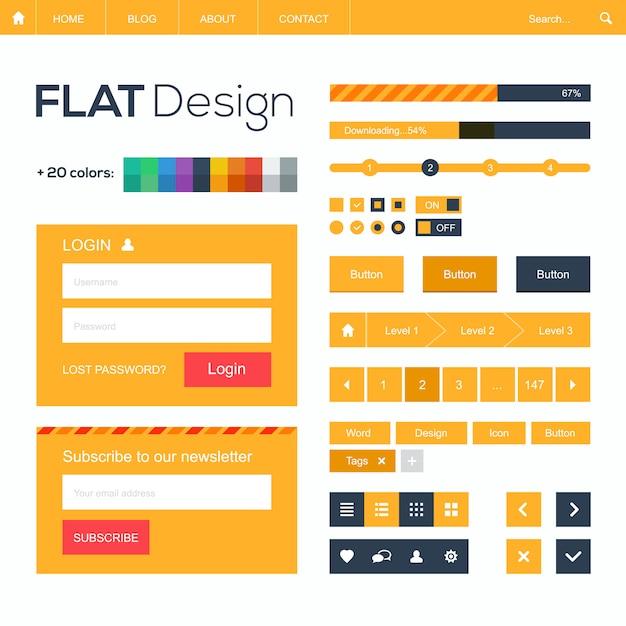 Web piatto e elementi di design mobile, pulsanti, icone. modello di sito web. Vettore Premium