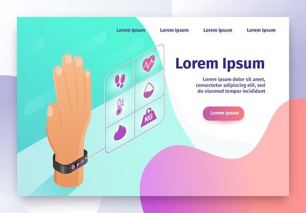 Web site isometrico di vettore del braccialetto indossabile di forma fisica Vettore Premium