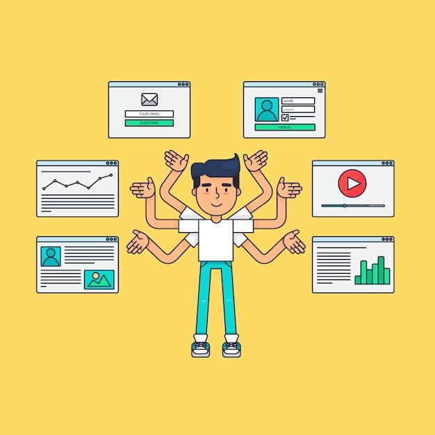 Web virtual socail network Vettore Premium