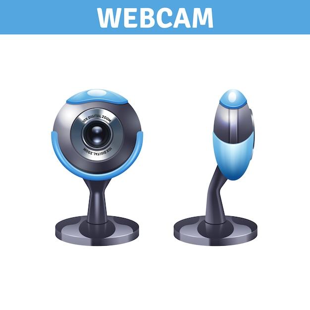 Webcam con vista frontale e laterale Vettore gratuito