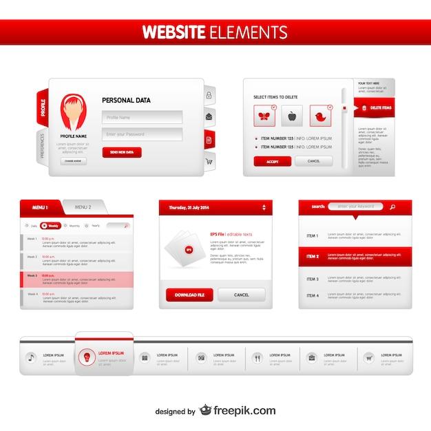 Website elements pack Vettore gratuito