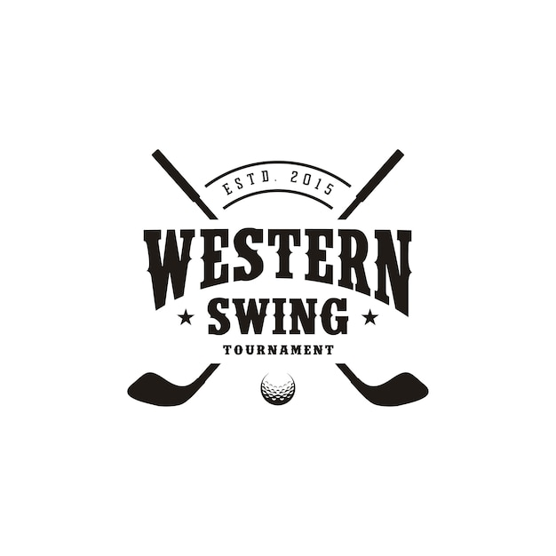 Western country texas golf logo design, vintage retrò bastone da golf incrociato Vettore Premium