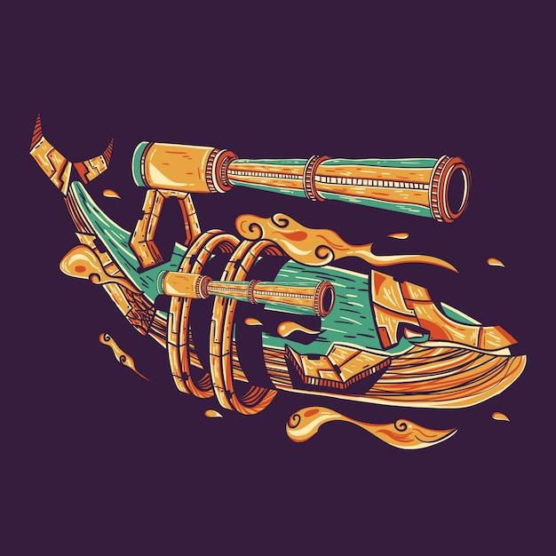 Whale guns illustrazione vettoriale per la progettazione di t-shirt Vettore Premium