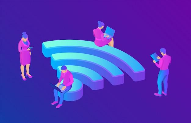 Wi-fi. persone nella zona pubblica hotspot wi fi gratuita. zona pubblica di valutazione. 3d isometrico. Vettore Premium