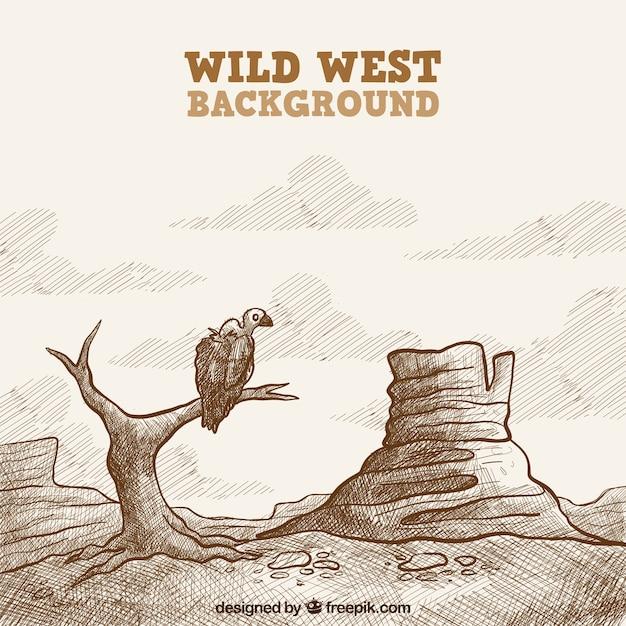 Wild west di sfondo con avvoltoio in stile vintage Vettore gratuito