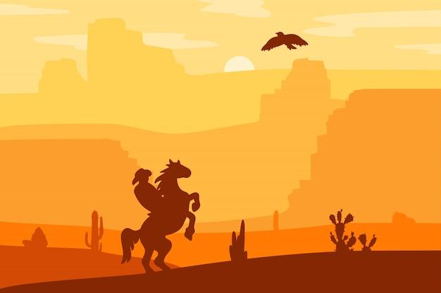 Wild west landscape Vettore Premium