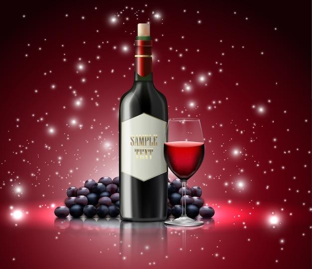 Wineglass e bottiglia di champagne su sfondo maculato Vettore Premium